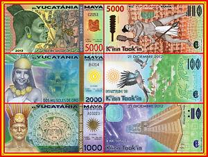 SET Yucatania Maya 1000 2000 et 5000 Soles de Oro 21 Décembre 2012 2013 Polymère