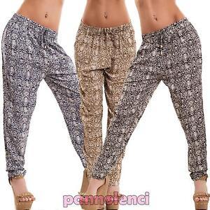 d023230608 Dettagli su Pantaloni donna harem leopardati animalier leggeri cavallo  basso sexy nuovi P099