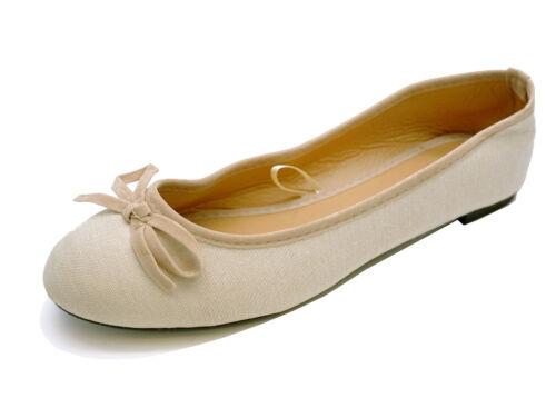 LADIES FLAT NUDE CANVAS SLIP-ON SHOES COMFY BALLET BALLERINA CASUAL PUMPS UK 3-8