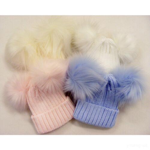 Ausverkauf Umwerfend Kinder Kleinkinder Baby Gerippt Hut mit Zwei Pelz Poms Cozy