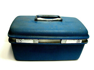 Vintage-Blue-Samsonite-Saturn-400-Train-Case-Carry-On-Travel-Luggage