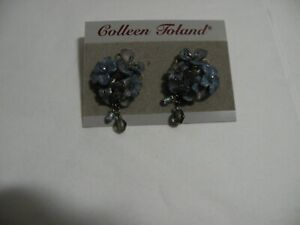 Colleen-Toland-Floral-Earrings-Blue-Flowers-Glass-Beads-Sweet-w-Tags-Pre-owned