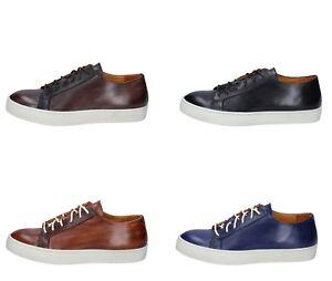 THOMAS VALMAIN scarpe uomo classiche sneakers marrone nero blu pelle