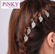 5 Hair Holder Rings Clips French Plait Braid Leaf Accessories Boho *UK SELLER
