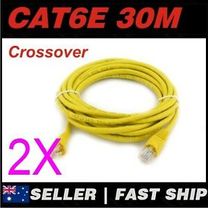 2x-30m-Cat-6-Cat6-Crossover-Yellow-Premium-Ethernet-Network-LAN-Patch-Cable-Lead