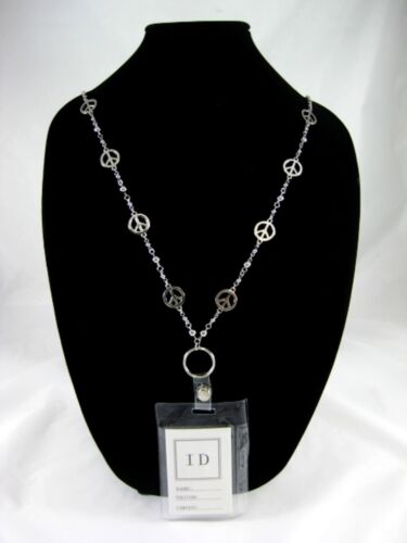 New ID Badge Holder Necklace Lanyard With Peace Signs #Z2011