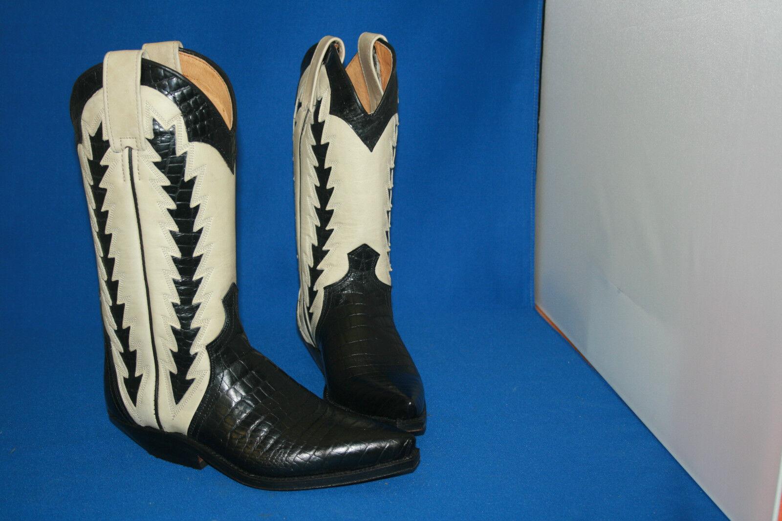Prime Stivali Cowboy Stivali Stivali Western Stivali Nuovo Gr. 37 Nero Nero 37 Bianco 67a231