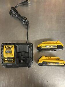 Brand-New-X2-GENUINE-DEWALT-20V-2-0ah-DCB203-Battery-X1-DCB115-Charger-DCB203-2