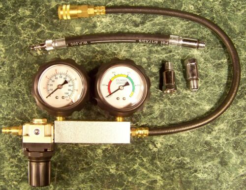 ENGINE CYLINDER LEAK DOWN TESTER KIT w//CASE test motor pressure air loss leaking