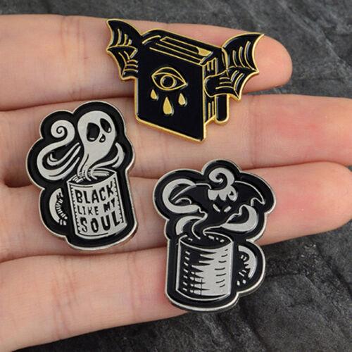 Bat Evil Eye Book Black Like My Soul Coffee Cup Pin Brooch Pins Clothes Badge DP