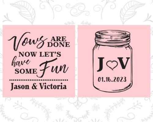 Mason Jar Personalized Wedding Coozies Custom Coozie 231 Rustic Favors