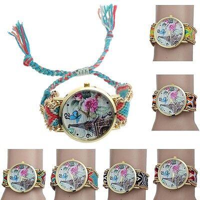 2015 Tower Flower Butterfly Pattern Weaved Rope Band Bracelet Quartz Watch Pop