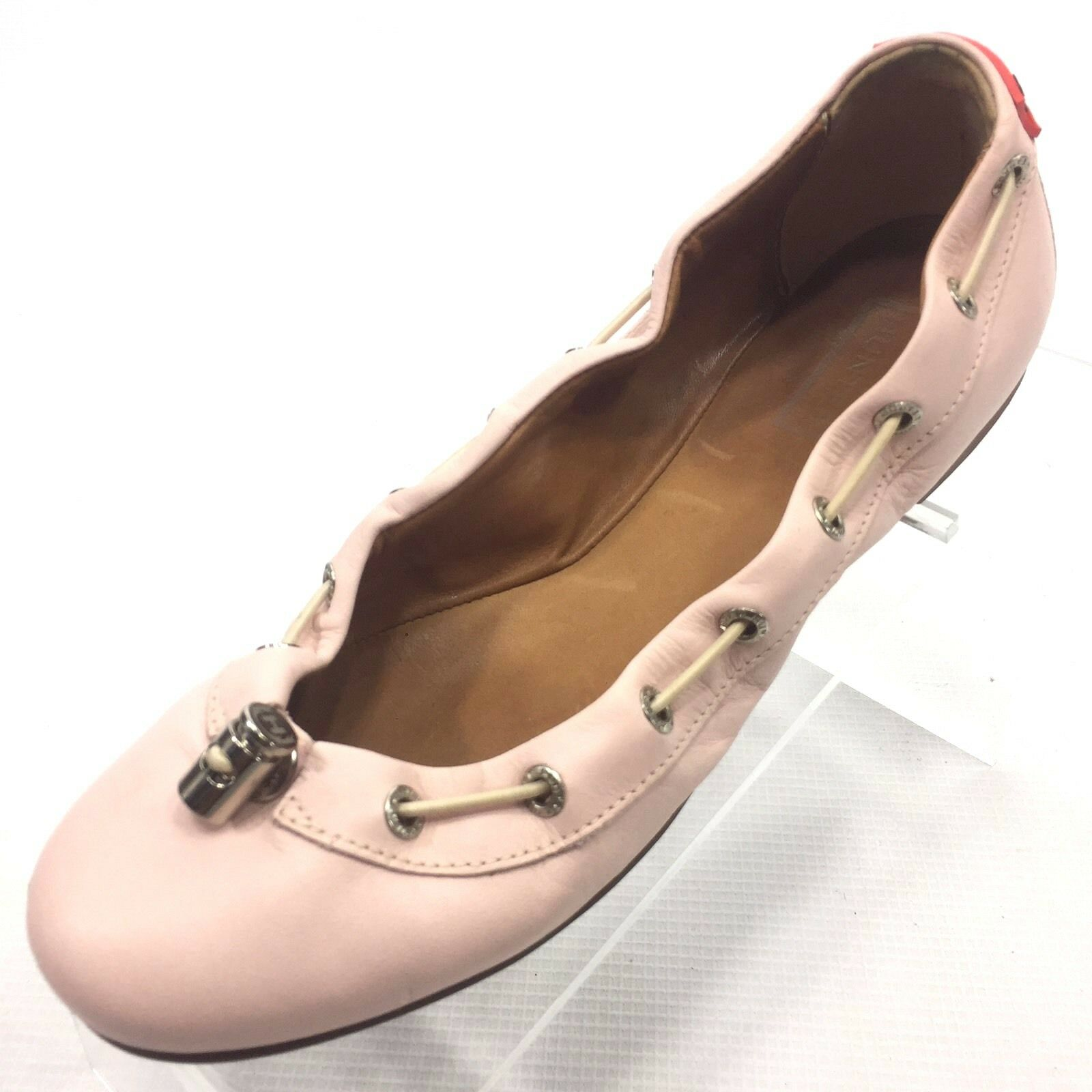 HUNTER Women's Solid Pink Leather Flats 360 Pull Tie Size 6