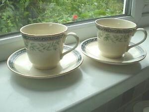 Royal-Doulton-Oregon-Tea-Cups-amp-Saucers-x-2-New-Romance-2nd-Quality-British