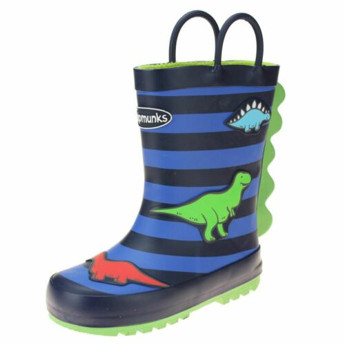 Chipmunks Jurassic 2 Boys Girls Multi Stripe Wellington Boot size uk kids