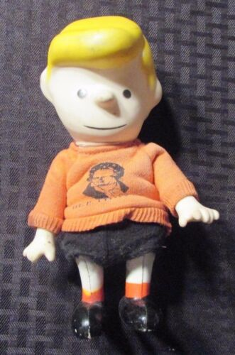"1966 Peanuts Schroeder 7"" Doll Figure w Beethoven Sweater VG+ Boucher Pocket"
