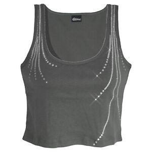 genial-CROP-bauchfreies-TOP-Gr-40-42-Shirt-Glitzer-Pailletten-Optik-GRAU