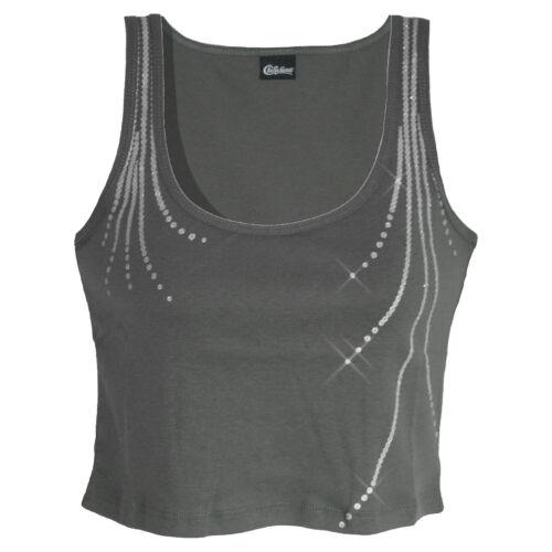 genial CROP bauchfreies TOP Gr.40//42 Shirt Glitzer Pailletten-Optik GRAU
