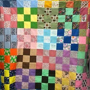 Vintage Unfinished Color Block Quilt Fabric Squares Rainbow Cottage Farmhouse