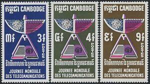 Cambodge N°235/237** Telecom, Espace, Satellite, 1970, Cambodia Sc#228-230 Mnh