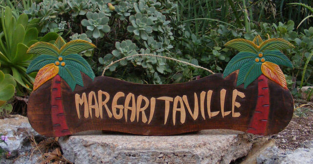 "Margaritaville Wood Sign Beer Sign Nautical Tropical Palm Tiki Bar Man Cave 22"""