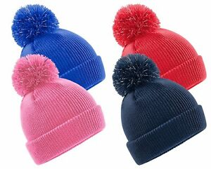 Childs Boys Girls Warm Double Layer Soft Touch Bobble Pom Pom Ski Hat Beanie Kids' Clothing, Shoes & Accs