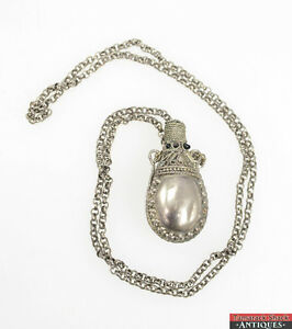 Vintage perfume pendant bottle necklace dark jeweled chatelaine image is loading vintage perfume pendant bottle necklace dark jeweled chatelaine aloadofball Image collections