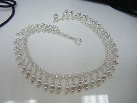 Sterling Silver - Italy Milor Dangling Bead Fringe 9 Anklet Bracelet Newboxed