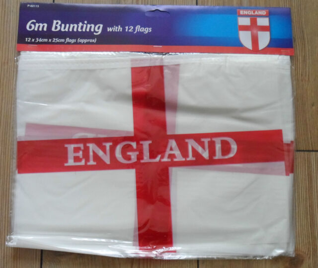 England 6m Bunting with 12 flags