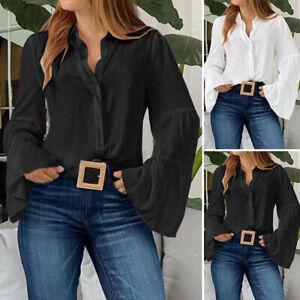 Mode-Femme-Chemise-Affaire-Boutons-Manches-a-volants-100-coton-Shirt-Tops-Plus