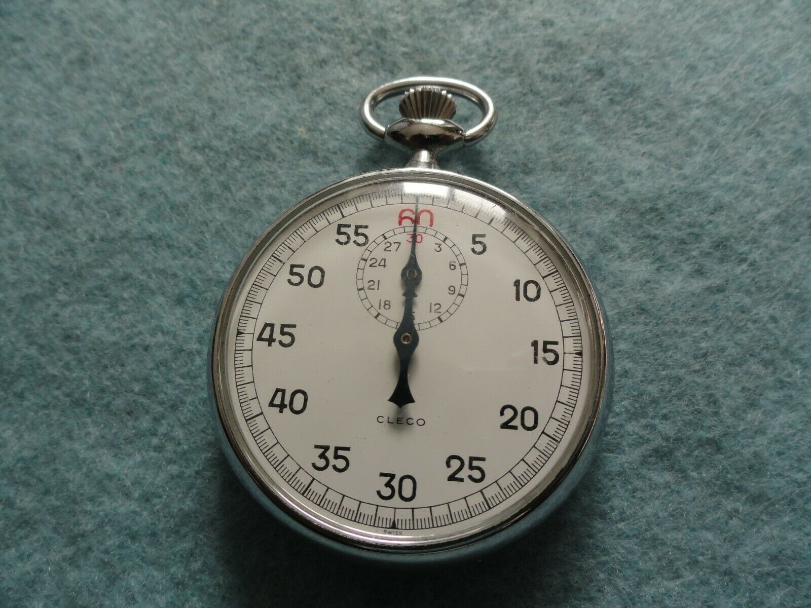 Swiss Made Cleco Mechanical Wind Up Vintage Stop Watch Stopwatch