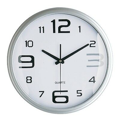 PREMIER HOUSEWARES SILVER LARGE SMALL NUMBER MODERN ROUND WALL CLOCK DECORATION