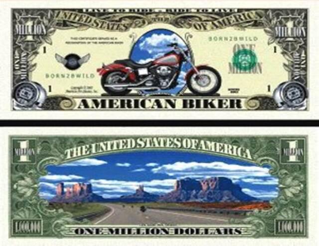 A HARLEY DAVIDSON MILLION DOLLAR BILL (2/$1.00)