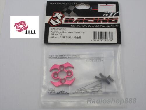 3racing SAK-D305//PK Aluminum Spur Gear Cover For Sakura D3