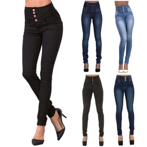 Damen Hoch Taille Skinny Jeans Stretch Slim Denim Hose Leggings Röhren Jegging