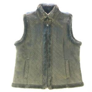 Jaclyn Smith Size Large Gray Faux Suede Fur Zip Vest Ebay