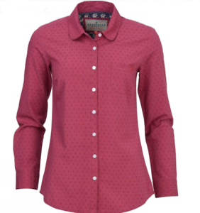Brakeburn-Womens-Red-Cotton-Branded-Button-Long-Sleeve-Casual-Dobby-Shirt-8-12
