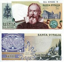 ITALY 2000 Lire Banknote World Paper Money UNC Currency Pick p-103c Galileo