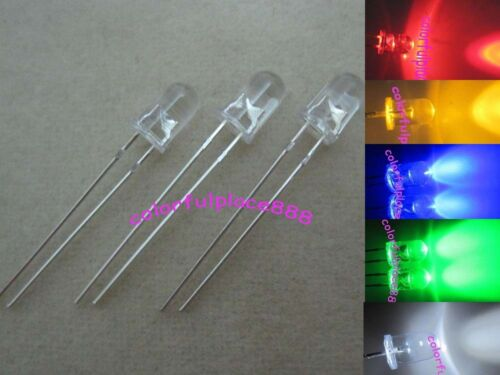 100pcs Resistors 5mm Red Yellow Blue Green White Round Top Bright LED Leds