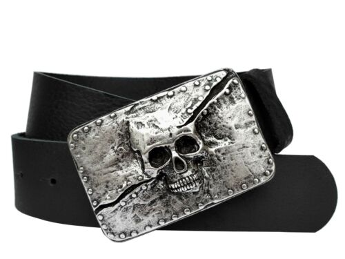 Cintura in Pelle Teschio Nero 4cm SKULL Buckle Marrone Biker Rockstar Jeans Cintura