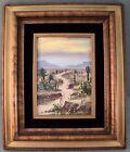 Vintage Original Oil Painting Desert Landscape Cactus Mountains Framed -Palencia
