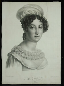 Large-Portrait-Of-Mademoiselle-Mars-Comedienne-c1810-Actress-Theatre-22in