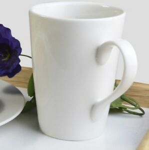 Image Is Loading Set Of Plain White Large Tea Coffee Latte