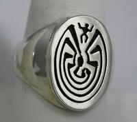 Navajo Indian Ring Size 11 Man-in-the-maze Overlay Sterling Silver Calvin Peters