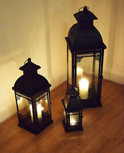 dekobote metall laterne 3er set h he 31 48 70 cm gro windlicht kerzenhalter ebay. Black Bedroom Furniture Sets. Home Design Ideas