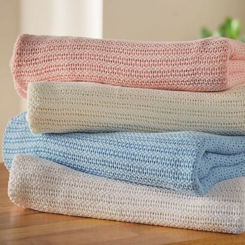 Breathable,100/% Cotton Cellular Blanket 6 Sizes and 6 Colours Ultra soft,Cozy