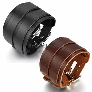 Punk-Cool-Men-Womens-Wide-Genuine-Leather-Belt-Bracelet-Cuff-Wristband-Bangle