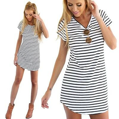 Casual Loose Women Boho Stripe T-shirt Summer Beach Cocktail Evening Mini Dress