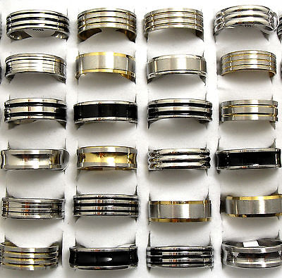 18pcs Top Mix lot of Black Enamel/Silver/Gold Wholesale Men Fashion Jewelry Lots