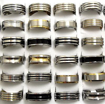 18pcs Top Mix lot of Black Enamel/Silver/Gold Stainless Steel Men's Fashion Ring